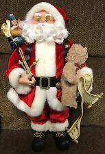"Macy's Red Santa Claus 18"" Santa Claus Bag Of Toys Bear Traditional"