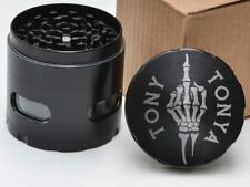 Skeleton Middle Finger Personalized Layer Herb Grinder with Glass Windows Gift