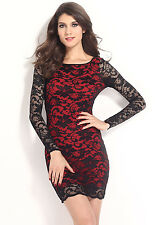 Lace Over a Nude Illusion Thrilling Beaded Lace Bodycon Mini Dress Red