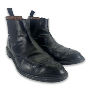 Mens Allen Edmond Knightsbridge Wingtip Chelsea Boots Black Leather Size 12 D