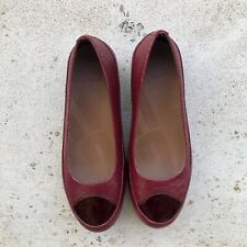 FitFlop Due Snake Embossed Leather Flat Red Size 41