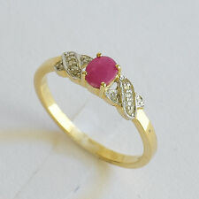 NATURAL RUBY RING GENUINE DIAMONDS REAL 9K 375 GOLD JULY BIRTHSTONE SIZE O NEW