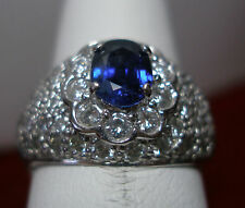 PLATINUM GENUINE SAPPHIRE & DIAMOND COCKTAIL RING