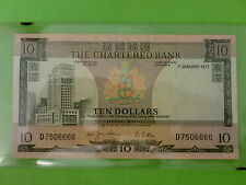 Hong Kong 10 Dollars The Chartered Bank 1st January 1977 (aUNC),Nice Number 6666