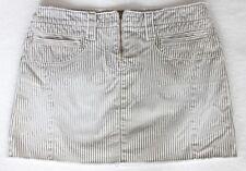 American Eagle Women's Size 4 Ivory Gray Mini Striped Jean Denim Skirt Zip Front