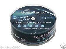 150 MediaRange DL DVD+R Double Layer 8,5 GB 8X cake da 25 DVD + R box MR469