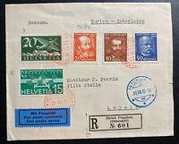 1932 Zurich Switzerland Early Airmail Registered Cover To Interlaken