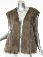 Zaccaria Long Hair Mink Fur Vest Size L Jacket Gray Green Dyed