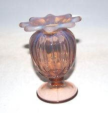 """Westmoreland Glass Lotus Pink Opalescent Pinched Scalloped Vase 5.5"""""""