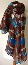 BNWT Brown War Horse Print Equine 180x100cm Large Scarf Shawl Sarong Headscarf