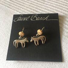 "Laurel Burch ""Primal Horse"" Antiqued Silver Toned Pewter Earrings NEW"