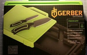 Gerber camping knife set with cutting board /tray  and sharpener /case AUTHENTIC
