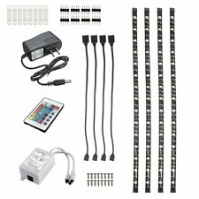 Under Counter Lighting Cabinet Led Wall Light Fixture Strip Remote RGB Kit 4 Pcs