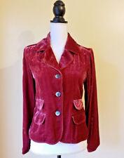 J Jill Womens Blazer Jacket Crushed Velour Velvet Buttoned Maroon Red Size XXS