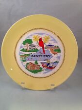VINTAGE KENTUCKY STATE PLATE WITH YELLOW AND GOLD TRIM