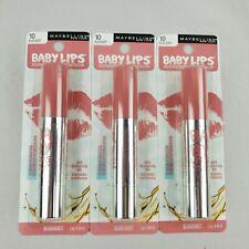 Lot of 3 Maybelline Baby Lips Moisturizing Lip Balm Blush Burst 10 Makeup New