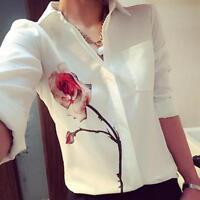 Women Long Sleeve Rose Flower Blouse Lady Chiffon Turn Down Collar T-Shirts Tops