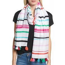 Kate Spade NY NWT Fiesta Stripe Colorful Oblong Wrap Scarf Shawl Retail $98