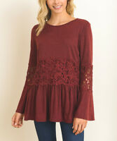 Peplum Tunic Size UK 10 Red Lace Accent Bell Sleeved Ladies Top BNWT #B-556
