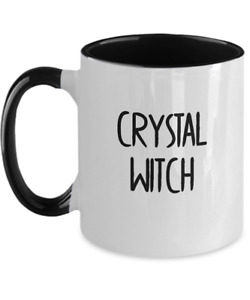 Crystal Witch Mug White Two Tone Coffee Cup Gem Healing Power Ball Spells