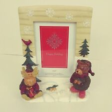 Christmas Picture Frame with Moose and Bear in Snowy Holiday Spirit