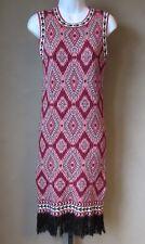 Design Lab by Lord and Taylor Knit Sleeveless Sheath Dress Fringe Hem Medium NEW