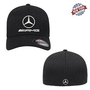 Mercedes-Benz AMG Logo Embroidered Flexfit Fitted Ball Cap Front & Back Stitch