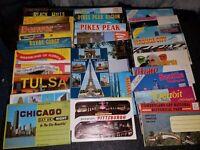 Lot of 28 chrome Travel postcard folders foldouts see pics