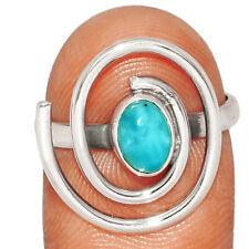 Spiral - Genuine Larimar - Dominican Republic 925 Silver Ring s.8 BR51107