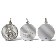 STERLING SILVER 27MM ROUND SAINT CHRISTOPHER PENDANT TRAVEL OR FREE ENGRAVING
