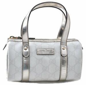 Authentic GUCCI Mini Hand Bag GG PVC White Silver C7639