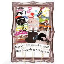 42 x Hochzeit Photo Booth Props Party Foto Requisiten Maske mit Bilderrahmen Set
