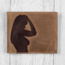 Mens Brown Leather Wallet with Lady Silhouette By Mustard