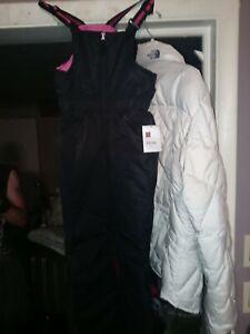 NWT  Brand New Girl's M 7/8 SwissTech black/pink snow pants bib