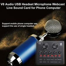 V8 Audio Stereo Mixer Headset Microphone External USB Webcast Live Sound Card