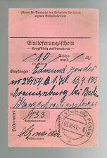 1941 Germany Oranienburg Concentration Camp money order Receipt KZ Edmund Gonder