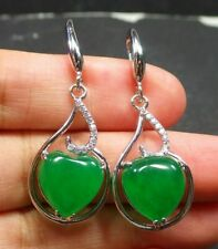 Green Jade Heart Imitation Diamond Gourd Gold Plated Hook Dangle Earrings Women