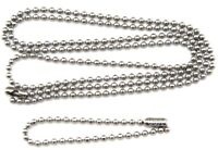 """Military Spec Stainless Steel Army Dog Tag Ball Chain Set (27"""" & 4.5"""")"""