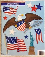 Static Window Clings Eagle Statue Liberty Flag Patriotic USA 4th of July New 9