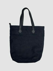 Bloomingdale's Waxed Canvas Zip Top Leather Handle Tote Bag -Navy Blue- 18x5x17