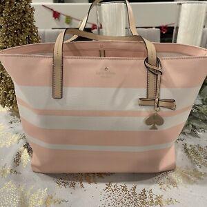 Kate Spade Hawthorne Lane LARGE RYAN Stripe Tote Bag Pastel Pink/White