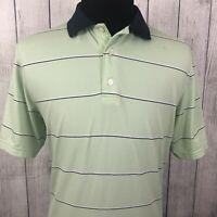 FootJoy Men's Large Green Striped Short Sleeve Stretch Polo Golf Shirt