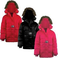 Girls Quilted Winter Jacket Detach Hood Padded Belted Fleece Lining 3-14 Years