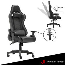 JL Gaming Chair Adjustable FX Leather Racing Office Executive Recliner UK Whole Black