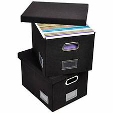 New Listing Updated File Box For Hanging Files Set Of 2 Storage Office Box With 60 Black