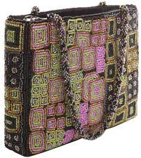 Perlentasche  schwarz grün pink  tausende Perlen  Abendtasche Tasche Handtasche