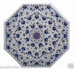 """36"""" White Marble Dining Center Table Lapis Floral Inlay Marquetry Deco Art H1447"""