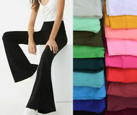 S-XL Women's Solid Long Stretch Pants Pull On Mid Rise Bootcut Flare Lounge Yoga