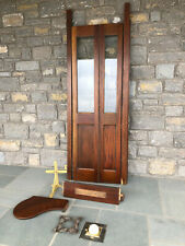 New ListingVintage Oak Wood Phone Booth Bi-Folding Door w/ Seat Plague, Light