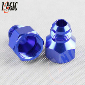 2PCS AN10 FEMALE to AN8  MALE REDUCER EXPANDER HOSE FITTING ADAPTOR BLue